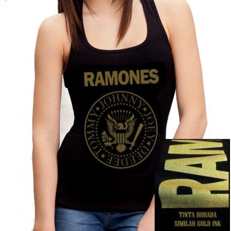 Camiseta tirantes Ramones dorada